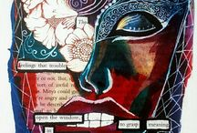 Black Out Poetry and Mixed Media Art / Black out poetry, mixed art media, collage, altered books, art pages.