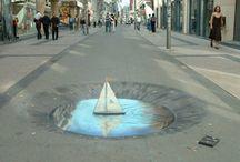 Chalk Street Art / 3D drawings on the street in chalk.