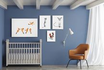 Kids Room Collections / Cute animals and delicate colors will cuddle your babies into a peaceful sleep and lovely dreams.  The collection includes 4 artworks by Romina Marti O'Toole, Lisa Billvik Norén and Chrys Lyons, ready to hang.