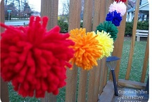 Pom Poms / Pompoms, party decorations, hanging paper lanterns and other home, garden, wedding and party ideas.