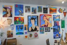 Local Artist Gallery / We have a variety of paintings, drawings, and mosaic art by local artists available for purchase in our studio.