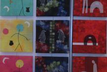 Udstillede værker / Fotos af værker som gruppens medlemmer har haft udstillet med angivelse af hvor og hvornår samt titel, størrelse og kunstner
