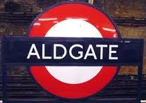 Aldgate / Board focusing on pictures of sights and attractions in and around Aldgate tube station on the Metropolitan and 