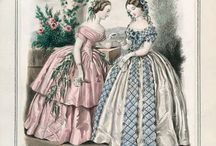 Early Victorian, Late Romantic style fashion / 1851-1865