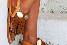 decorated leather boho pom pom sandals / boho sandals