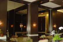 Commercial Jobs / Our commercial installation division has created unique designs for many projects ranging from mirrored doors to sneeze guards and commercial storefront.