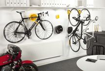 Bike storage at the office / Why leave your bike to the mercy of the elements when you can store it with ease inside; workplaces big and small can benefit from the Cycloc range of products - colourful and practical additions to the office.