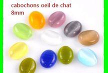 10 pieces : cabochons oeil de chat 8mm accessoire creation bijoux Matériaux utilisés: Verre