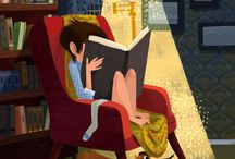 child reads a book / illustration