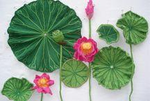 Strikket blomster