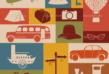 vintage travel symbol