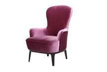 Modern & Classic Upholstered Taupe Velvet Or Beige Silk Fabric Flavia Chair/Armchair