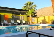 Desert Star Palm Springs//Palm Springs, California / The Desert Star is a small Palm Springs property designed and built by Howard Lapham in 1954. The design of studio apartments around a pool is classic mid-century modern style. The apartments are available for short term vacation  rentals.