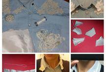 DIY / col fleuri / comment personaliser élégamment  un col de chemise en jean.