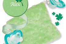 Personalized Pacifier Clip & CuddleSquare  / Personalize Clover Clip and CuddleSquare Bundle for St. Patrick's Day!