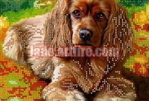 Dogs and puppies bead embroidery diy kits