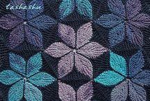flower knitting blanket