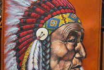 Men's vintage handmade messenger bag, print Indian chief