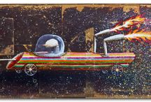 *piloto* / Pilot and his rocket. Dimensions: 56x26 cm Mixed media: acrylic and cards old notebook on plywood #4mm