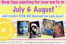 Face Painting by Never Grow Up. Johannesburg. / Face Painting and Parties.