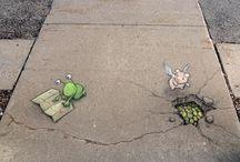 kresba na chodnik David Zinn