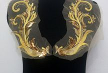 Gold / Red Applique Sequin Sew Ons