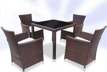 Garden Furniture Set Coffee Dining Table Chairs Rattan Outdoor Patio Classic 5Pc