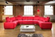 U Shaped Home Cinema Sofas / For that total WOW sofa. Contemporary and stylish corner and U shape sofas with massive cinema sofa group options. All made to order and available in a fabric or fabrics of your choice from a large range of options. An extra modular sections can be added to any design. All available with coordinating headrests, cushions and footstools. Fabric samples available.