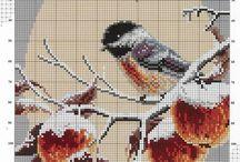 Вышивка птички киски