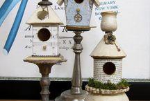 Handmade Birdhouse  & Birdbath