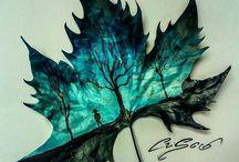 Picturi pe frunze, scoici