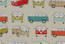 New Fryetts Furnishing Fabric / Our new range of upholstery fabric, featuring cats, bees, foxes, VW Camper Vans and sausage dogs.