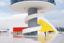 Centro Cultural Principado de Astúrias, 2006, Avilés, Espanha. Quando recebeu a planta do centro cultural, Oscar Niemeyer imaginou de cara como tudo seria: