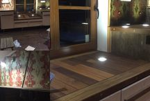 kitchen with deck countertop. / made this for my friends cottage, from teak and merbau deck flooring leftovers.
