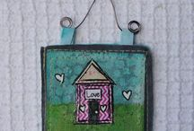 Mixed-Media House Love / Houses can be made out of just about anything, making them the perfect canvas for the mixed media artist: / by Cloth Paper Scissors