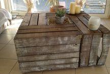 table basse caisses de pommes