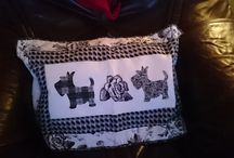 Pillows and stuff I made myself. / Home-made pillows with schnauzer-motive or other...