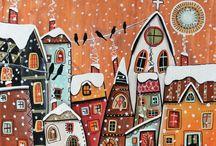 нарисованные дома