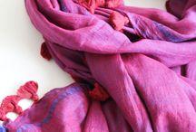 Silk and Cotton Maroon Pom Pom Scarf