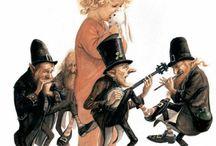 Au bout du fil / Toile sur le thème des marionnettes et leurs marionettistes