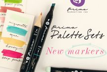 Prima Palette Marker Sets / Each alcohol-based marker is beautifully designed to fit comfortably in your hand, while offering two versatile tips...for wide swipes of pigment with the blunt wedge tip, to precise outlining with the fine, soft tip. / by Prima Marketing