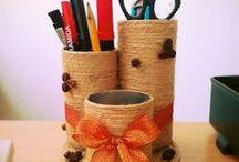 porta canetas em latas e rolos