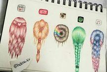 hår tegninger
