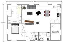 Plan maison bois Reena / Plan de maison de plain pied avec 2 chambres. Possibilité d'aménagement d'un espace détente en mezzanine. www.syma-maisonbois.fr