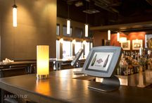 Armodilo Photographed   / Professional Photo's of Armodilo's Award Winning Tablet Display Stands at Wildcraft Bar and Grill and the Canadian Clay and Glass Gallery.