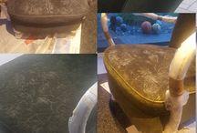 Sessel streichen mit Acryl Farbe