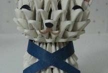 3D origami cute cat
