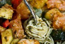 Recette / Pâte au crevette et légumes