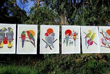 Australian Certified Organic Australian Bird cotton tea towels / Designed by artist, Tatiana Clauzet, these tea towels display images of well-known Australian birds - the Black Cockatoo, Eastern Rosella, Gang Gang Cockatoo, King Parrot, Galah and Regent Parrot. Beautiful, striking colours printed on a quality certified organic cotton fabric.