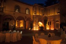 Night-time castle / Romantic atmosphere by candle light for a wedding or a private dinner. Cool lighting for the party.